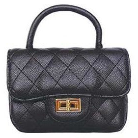 Quilted Satchel Handbag - Black