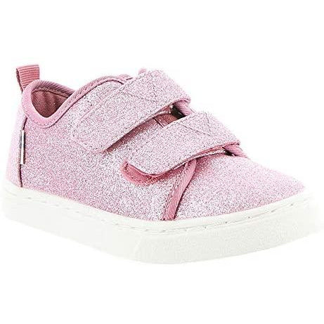 Ballet Pink Glitter Tiny TOMS Lenny Double Strap Sneakers