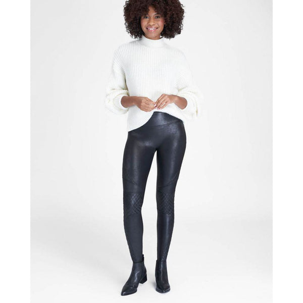Faux Leather Quilted Leggings SPANX - Very Black