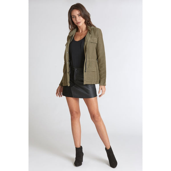 Kaylee High Rise Suede & Leather Mix Skirt