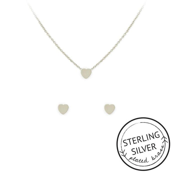 Love Necklace and Earring Set (Silver)