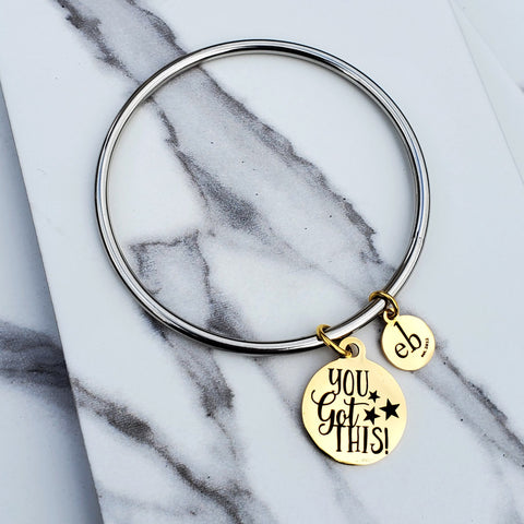 You Got This Gold Charm Silver Stackable  Bangle