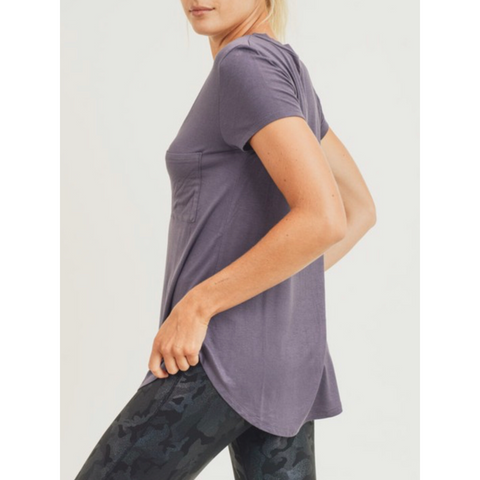 Demi V-Neck Tee - Plum Grey