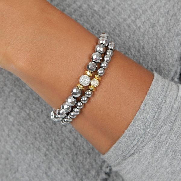 Mixed Metal Silver and Gold Pave Bracelet