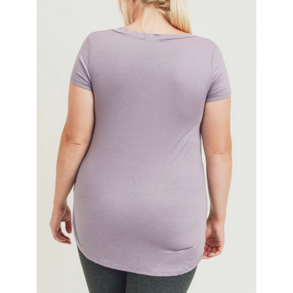 Demi V-Neck Tee - Dusty Lilac