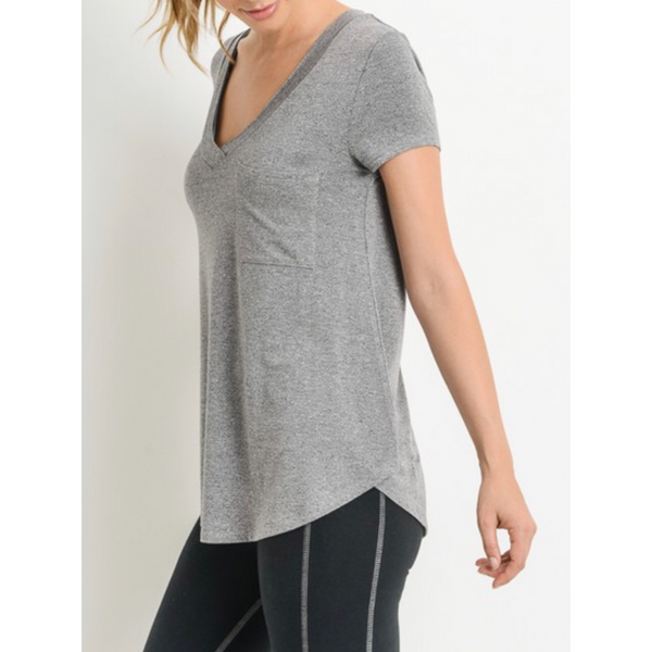 Demi V-Neck Tee - Heather Grey