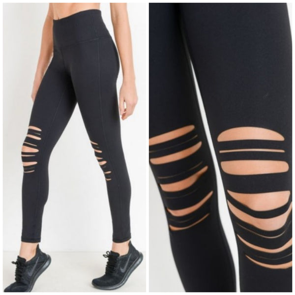 High Waist Knee Cut Out Leggings - Black