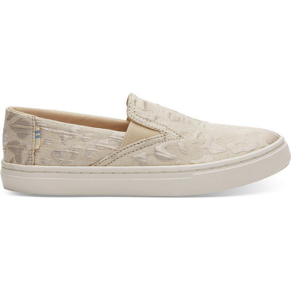 Rose Gold Metallic Woven Cheetah Youth Luca Slip-Ons