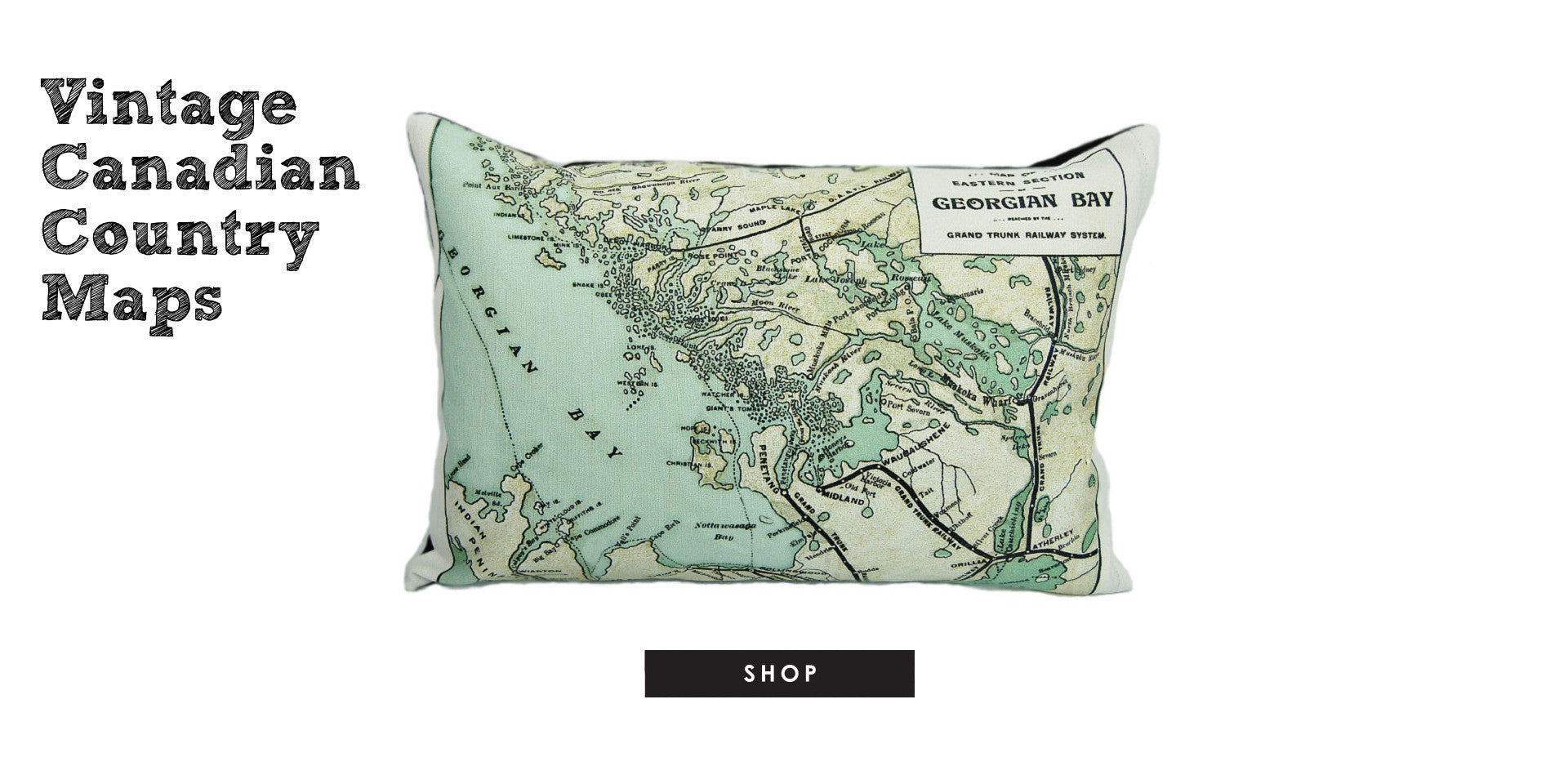 County Cupboard - Vintage Canadian Map Pillows and Tea Towels
