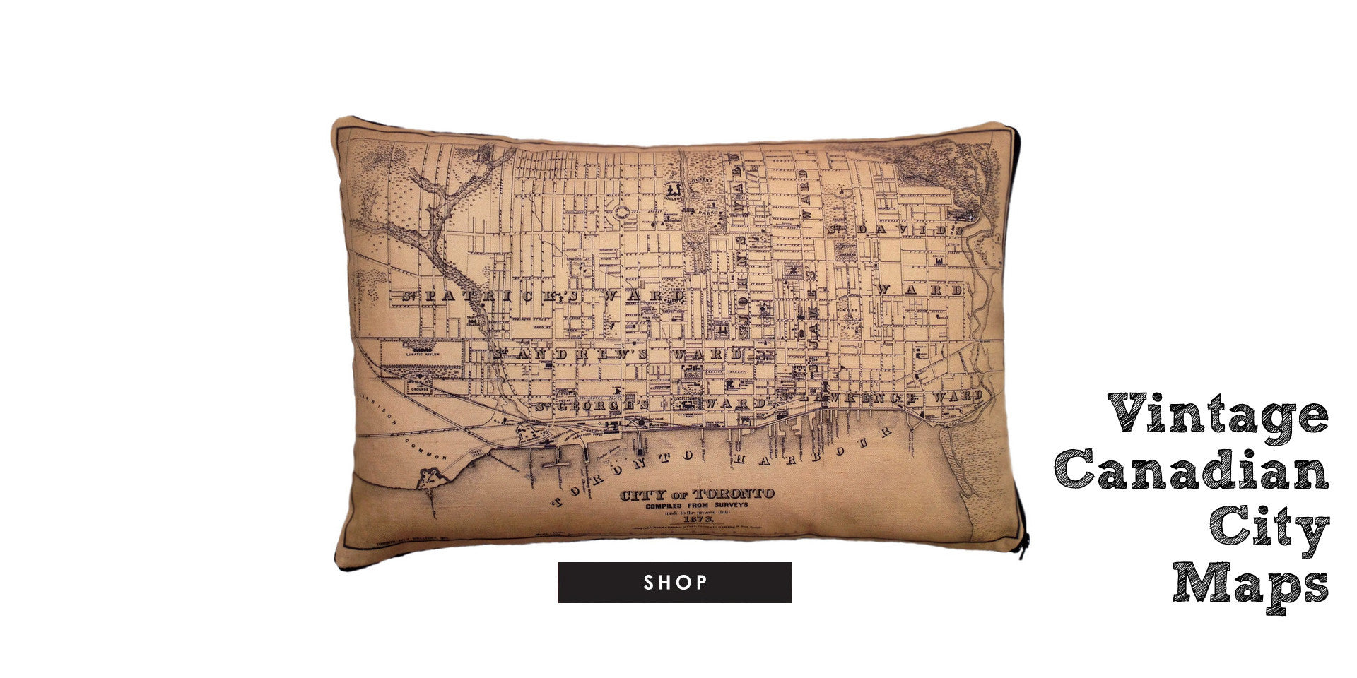 Georgian Bay Vintage Map Pillow