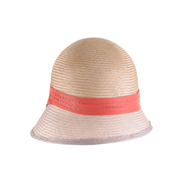 Blush Pink Straw Cloche with Coral Leather Trim by Cappellino Millinery