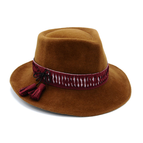 Bronze Felt Cowboy Fedora with Tassels by Cappellino Millinery