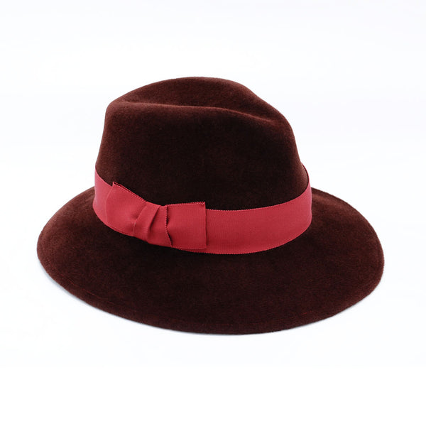Burgundy Felt Fedora with Red Trim by Cappellino Millinery