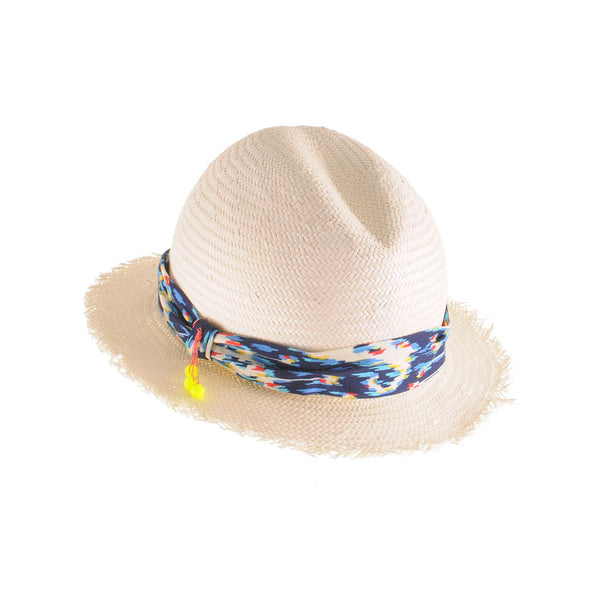 Small Fedora with Frayed Edge and Ikat by Cappellino Millinery