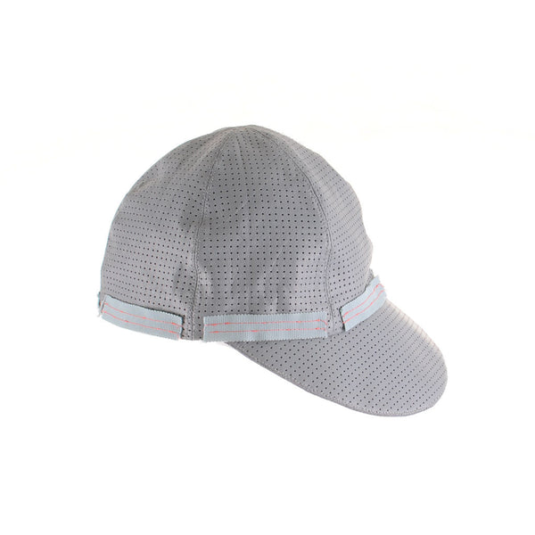 Grey Perforated Leather Cap by Cappellino Millinery