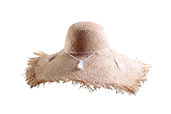Large Raffia Sun Hat with Frayed Edge and Tassels by Cappellino Millinery