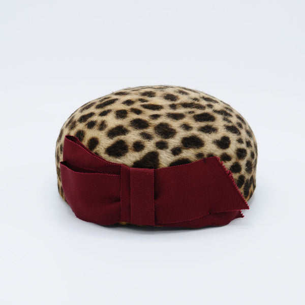Leopard Print Pillbox Hat by Cappellino Millinery
