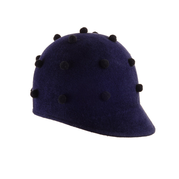 Navy Custom Felt Cap with Tiny Pom Poms by Cappellino Millinery