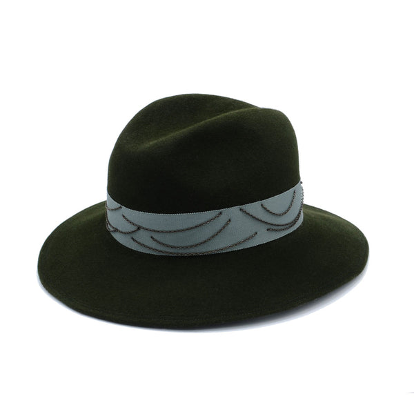 Olive Green Fedora Cowboy with Chains by Cappellino Millinery