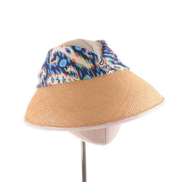 Panama Straw and Ikat Cotton Sun Visor by Cappellino Millinery