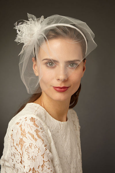 Bridal Tulle Blusher Veil with Lace and Feather Flowers by Cappellino Millinery