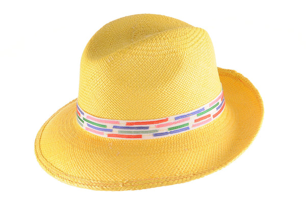 Yellow Panama Fedora with Colorful Ribbon by Cappellino Millinery