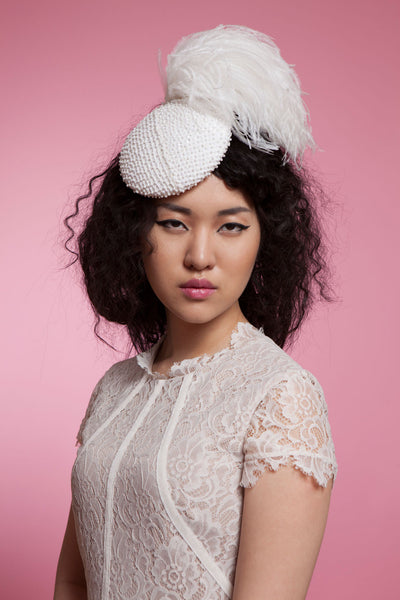 Beaded Bridal Fascinator with Ostrich Pompom by Cappellino Millinery