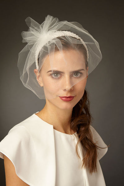 Beaded Bridal Headband Fascinator with Tulle Blusher Veil by Cappellino Millinery