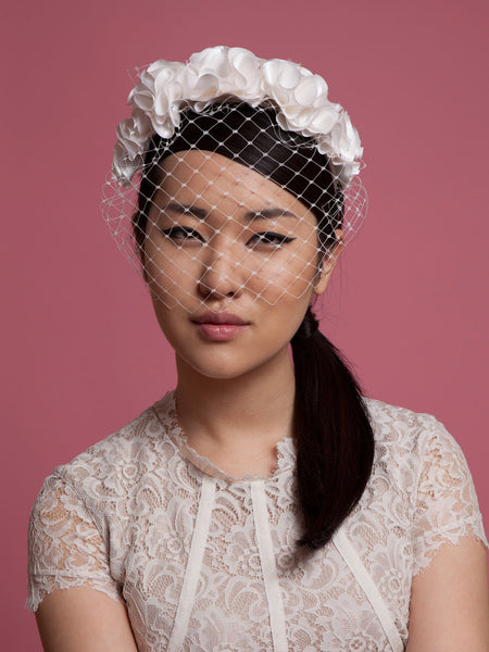Bridal Birdcage Veil with Silk Flower Crown by Cappellino Millinery