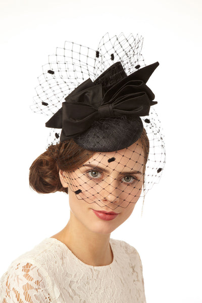 Black Cocktail Derby Hat with Spot Veil and Silk Bows by Cappellino Millinery