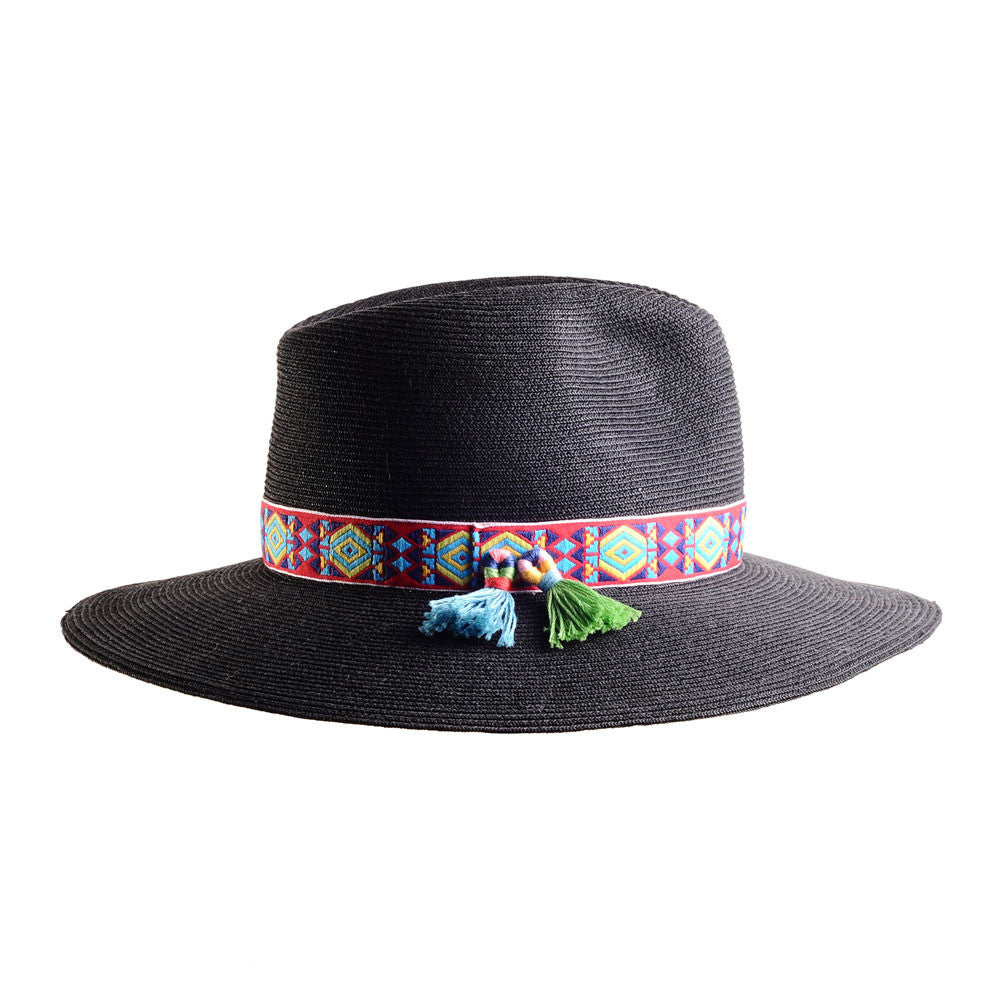 Large Black Straw Fedora with Mexican Tassels by Cappellino Millinery
