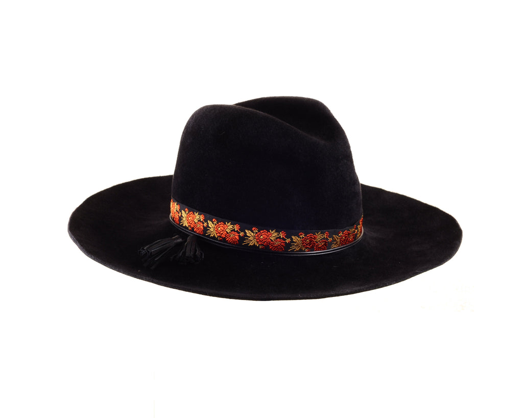 Black Felt Custom Cowboy Fedora with Vintage Ribbon and Leather Tassels by Cappellino Millinery