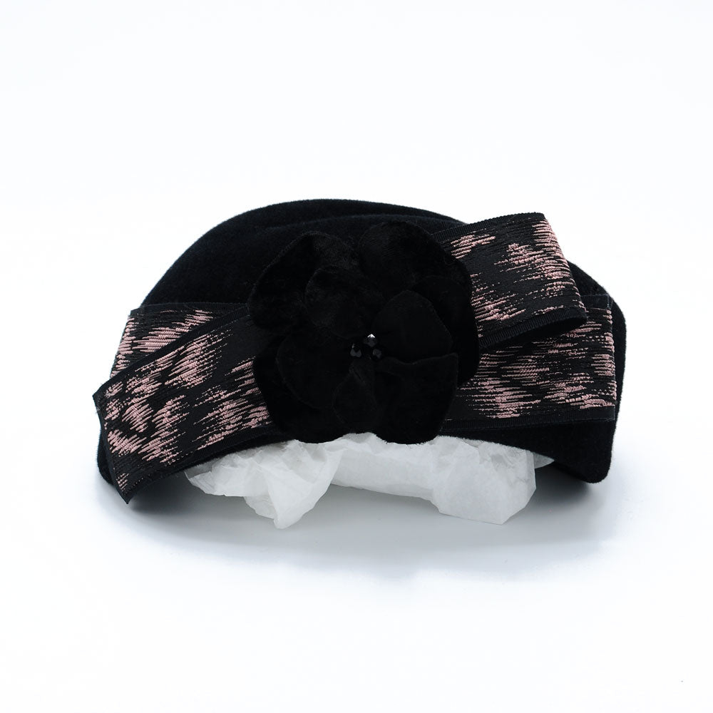 1950s Black Felt Pillbox Hat with Velvet Flower by Cappellino Millinery