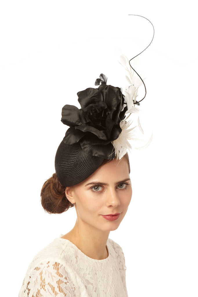 Black Straw Beret Derby Fascinator with Silk and Feather Flowers by Cappellino Millinery