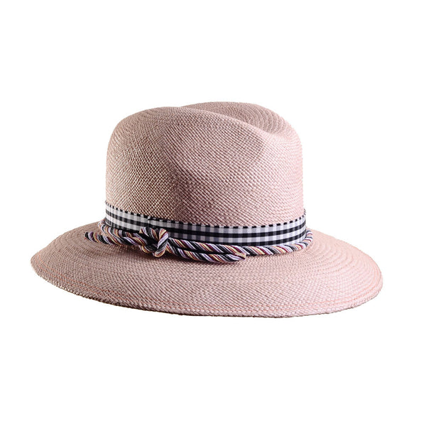 Blush Pink Panama Fedora by Cappellino Millinery