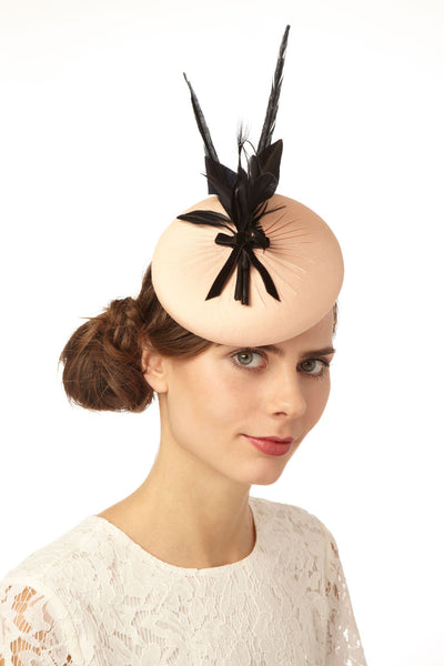 Blush Pink Silk Derby Fascinator with Black Feathers by Cappellino Millinery