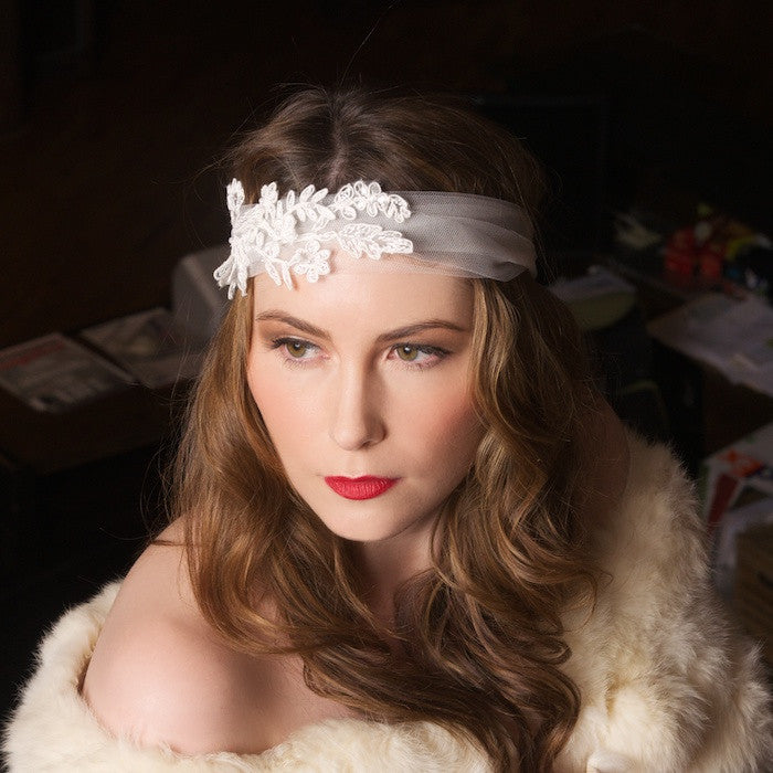 Bohemian Tulle Headband with Applique Lace by Cappellino Millinery