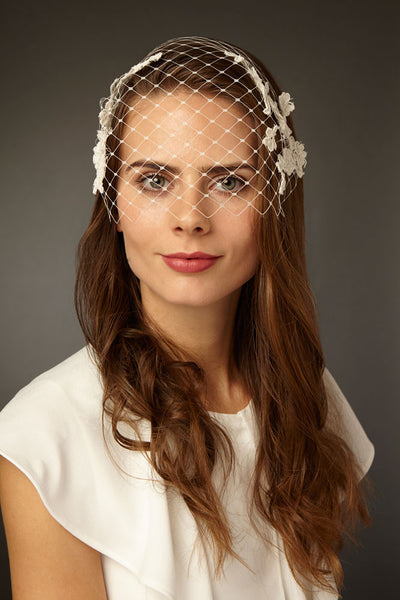 Bridal Birdcage Face Veil with Applique Lace by Cappellino Millinery