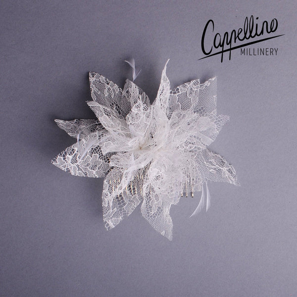Bridal Hair Comb with Lace Flowers by Cappellino Millinery