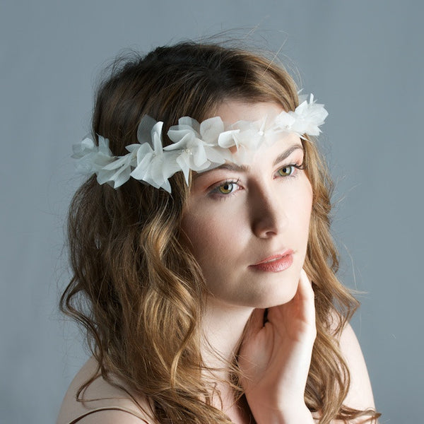 Bridal Silk Organza Flower Crown by Cappellino Millinery
