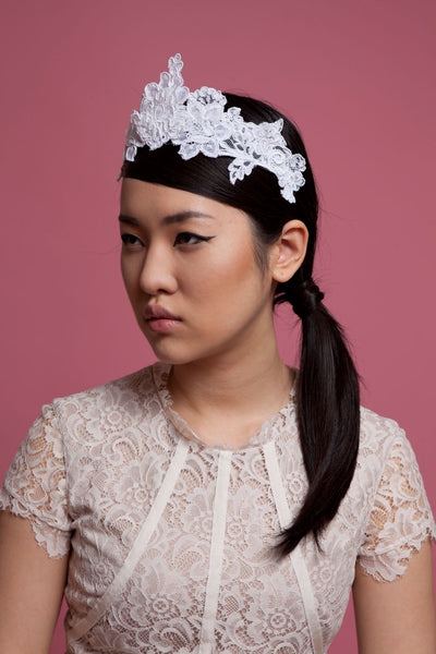 Bridal Tiara of Stiffened Lace by Cappellino Millinery