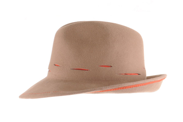 Camel Felt Custom Fedora with Slashed Orange Silk Detail by Cappellino Millinery