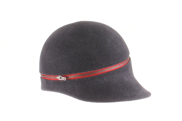 Grey Felt Cap with Red Zipper by Cappellino Millinery