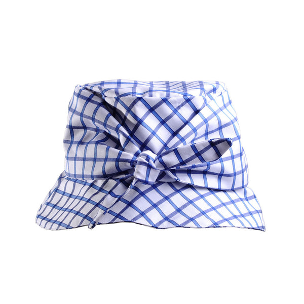 Gingham Plaid Cotton Bucket Hat with Tie by Cappellino Millinery