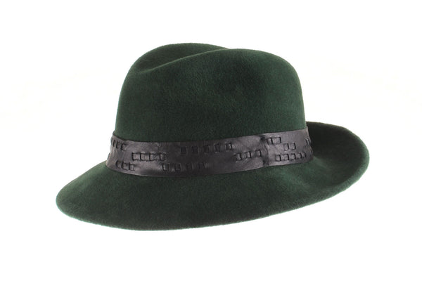 Forrest Green Custom Felt Fedora with Woven Leather Band by Cappellino Millinery