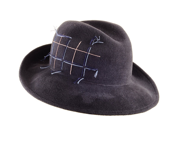 Dark Grey Custom Felt Fedora with Embroidered Tartan Plaid by Cappellino Millinery