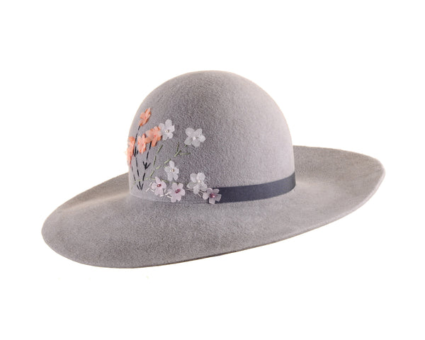 Custom Grey Felt Floppy Hat with Valentino Silk Flower Embroidery by Cappellino Millinery