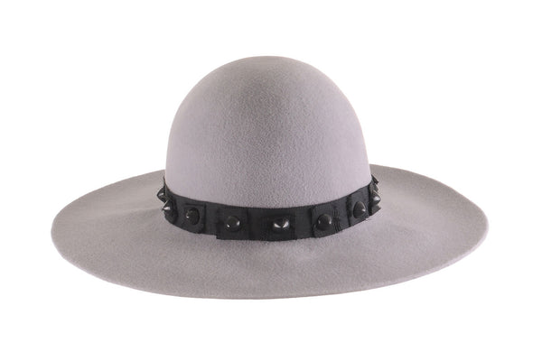 Light Grey Custom Felt Floppy Hat with Studs by Cappellino Millinery