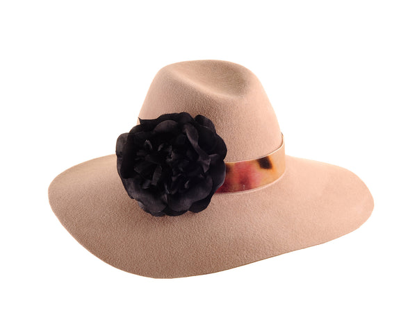 Large Camel Custom Felt Floppy Fedora with Silk Flower and Vintage Velvet Ribbon by Cappellino Millinery