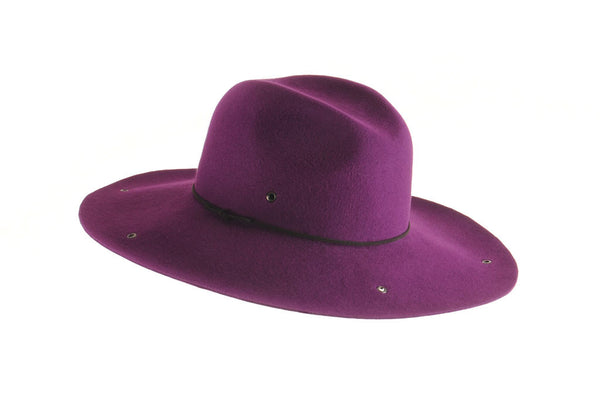 Custom Large Felt Floppy Fedora with Eyelets by Cappellino Millinery